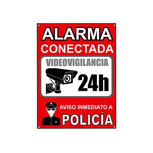 Cartel videovigilancia | Placa alarma conectada | Carteles zona videovigilada | Aviso a la Policía 20x15 cm Rojo Interior/Exterior (1 Pieza cartel videovigilancia)