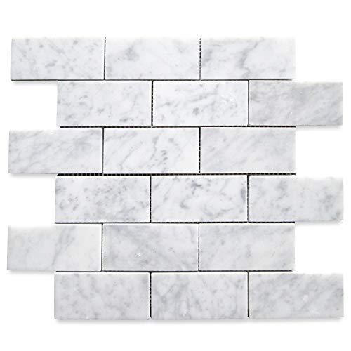 Stone Center Online Carrara White Italian Carrera Marble Subway Brick Mosaic Tile 2x4 Polished Venato Bianco Bathroom Kitchen Backsplash Floor Tile