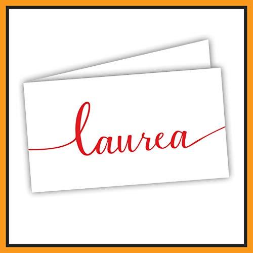 Bigliettini Bomboniera Laurea rossi, Biglietti Sacchetti Confetti - Laurea 60 pezzi pretagliati - stampa l'interno con il file da scaricare dal link e il foglio di prova per non sbagliare