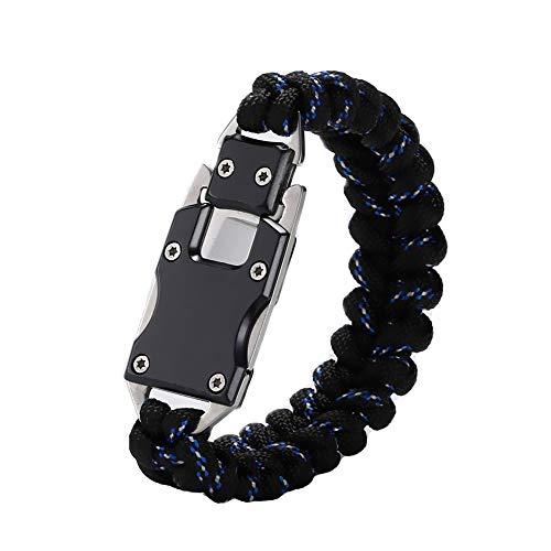 WEREWOLVES Paracord Rope Bracelet Survival Bracelets Multitool Survival Gear Tactical EDC Bracelet Camping Paracord Bracelet for Men Gift (Black&Blue)
