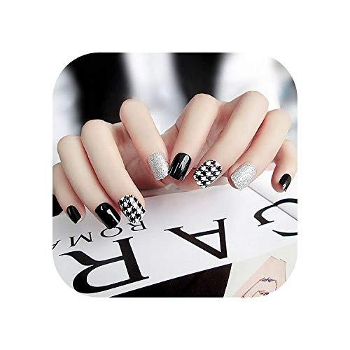 Faux ongles clairs avec de la colle pour les femmes Brillant noir blanc Glitter Designs Finger Nail Tips Courts faux ongles Nail Art Décorations-Black-
