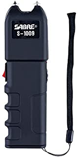 SABRE Tactical Stun Gun—Anti-Grab Technology (Shocks Person If They Try to Take)–Charge Emits Intimidating 95 dB—120 Lumen Flashlight, Wrist Strap & Holster