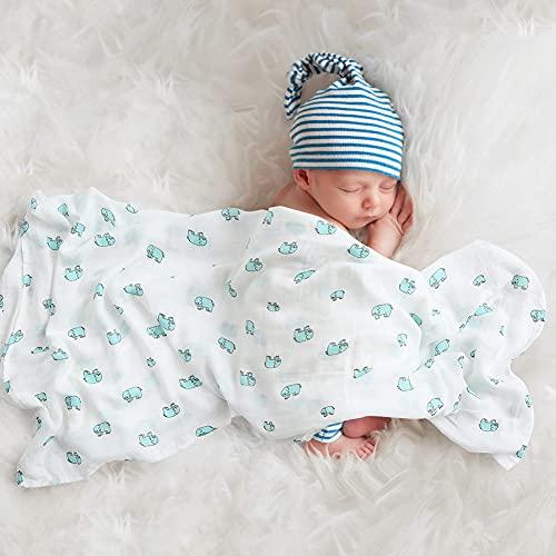 Mr.do® Muselina Manta Bebé 120x120 cm Bambú Algodón Mantas Envolventes Verano Bebe Recien Nacido, Diseño de Elefante Verde