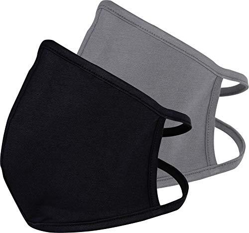 PR BAZAAR Mund-Nasen-Abdeckung, 100% Baumwolle, wiederverwendbar, bei 60° waschbar, 2er-Set, Schwarz/Grau