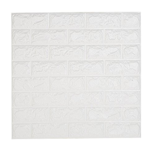 NHsunray 3D Ladrillo Pegatina Pared Autoadhesivo Panel Pared Impermeable, 3D DIY Wall Stickers Moderno Decoración para Cuarto de Baño, Sala de Estar y Cocina, 60x60cm (20 pcs)