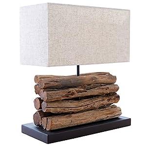 Design Treibholz Lampe PERIFERE beige Tischlampe Handarbeit