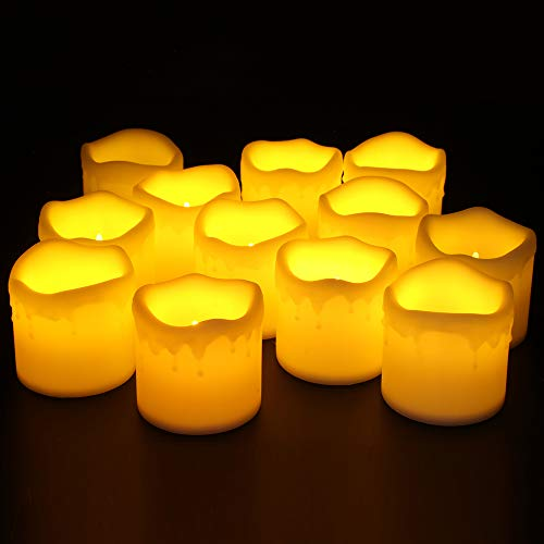 Furora LIGHTING Flameless LED Votive Candles - Battery Operated Melting Style Votives with Realistic Flickering Flame Best for Wedding, Party and Holiday Decoration Ideas - Pack of 12