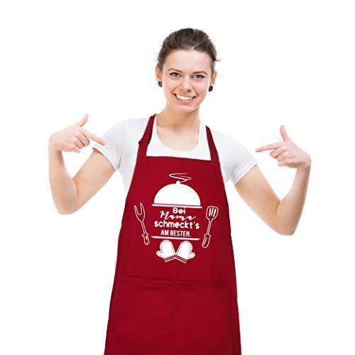 upain Kochschürze für Mama, Rot Schürze für Damen, Lustig Baumwoll Grillschürze als Muttertag Geburtstag Geschenk fur Mama Oma, Verstellbarem Küchenschürze -Bei Mama schmeckt\'s am besten