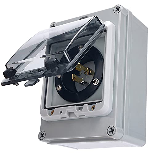 GFORIT 30 Amp Generator Power Inlet Box, 125/250 Volt 7500 Watts Power Inlet Box, NEMA 3R L14-30P 4 Prong Generator Plug Receptacle Panel Cord for Outdoor Use, Weatherproof, UL Approved