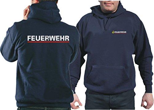 feuer1 Kapuzensweatshirt Navy, BaWü Stauferlöwe nach VwV mit Rückendruck Feuerwehr