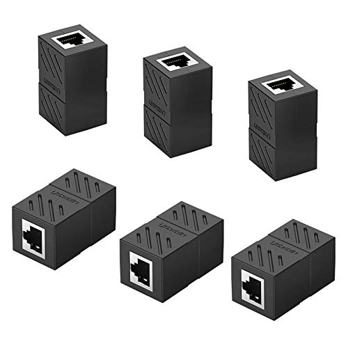 RJ45-kopplare 6 st nätverkskabel kontakt nätverksförlängare med skärm Ethernet-kopplare förlängningskablar hona till hona kontakt nätverk Keystone Jack in-line-kopplare – svart