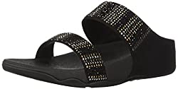 Black Flare Strobe Slide Sandals with Rhinestones
