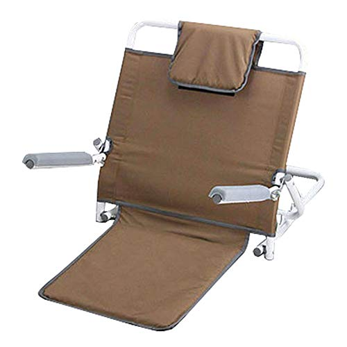 LIYANG Folding Backrest Support with Armrest, Adjustable Sit-up Back Rest for Elderly, Outdoor Recliner Chair, Brown