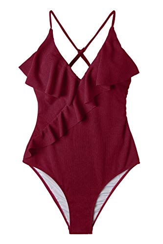 CUPSHE Women's Happy Ending Solid One-Piece Swimsuit Beach Swimwear Bathing Suit Large Red