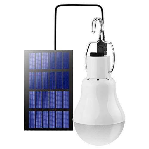 Beinhome LED Solar Glühbirne Solarlampen für Außen,Solar Laterne Camping Lampe Solar Hängelampe mit Solarpanel,3W Licht Birne,Solarbeleuchtung für Außen Innen Camp Zelt Wandern Angeln Gartenhaus 1pc