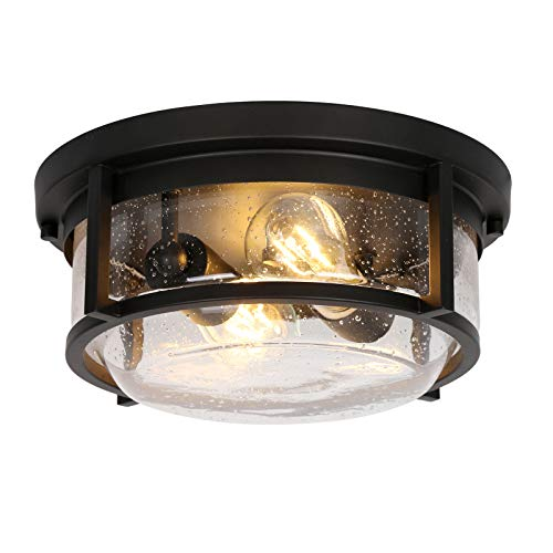 Hykolity 2-Light Outdoor Indoor Ceiling Light, Flush Mount Bathroom Ceiling Light Fixtures, Black Finish with Seeded Glass Shade for Porch, Entryway, Bedroom, ETL Listed (Bulb not Included)