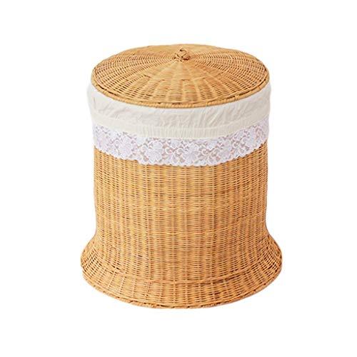 ZHAOSHUNLI Panier à linge Rotin en bambou de panier de rangement de panier de blanchisserie vêtx le stockage de jouet avec le couvercle (Color : Yellow)