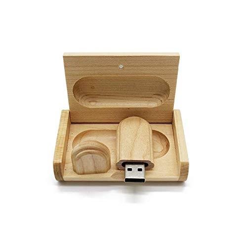 Anloter - Chiavetta USB 2.0 in legno d'acero da 16 GB, 4 GB, 8 GB, 16 GB, 32 GB, 64 GB, 128 GB (16 GB, USB 2.0)