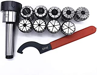 CROSYO 9PCS ER32 Pinces Ressort MT3 ER32 + 1PCS ER32 Clé + 1PCS Collet Chuck Morse Porte-cône for fraisage CNC Lathe Outil