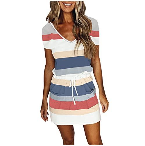 Strandkleid Damen Kurz Sommerkleid V-Ausschnitt Elegant Streifen Mini T-Shirt Kleid mit Tasche Für Damen Sommer Midi Kleid Dress Party Strand Freizeitkleider