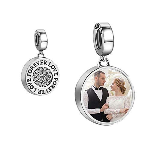 Personalisiert Foto Anhänger Charms 925 Sterling Silber Photo Medaillon Damen-Bead Schmuck Geschenk für Mutter Mädchen (Kristall)