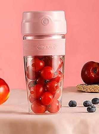 Saft Mixer - Mini batidora de vaso para smoothies y batidos, recargable por USB, 300 ml, portátil, color rosa