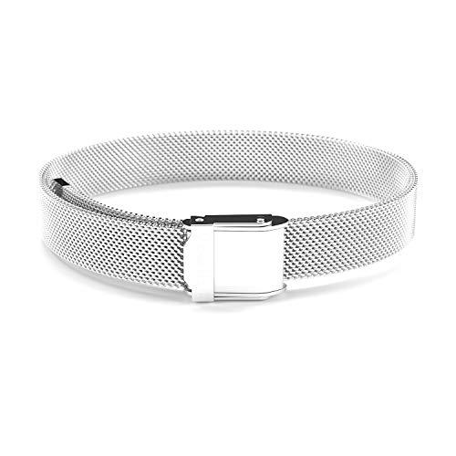 THIORA® - Mesh Armband Damen | Große Auswahl Charms | Premium Edelstahl veredelt | Charmband (Simplicity Silber)