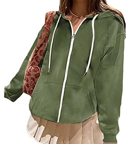 Onsoyours Sudadera para Mujer de Manga Larga con Botones y Capucha con cordón Otoño Invierno Talla Grande Hoodie C Verde XL