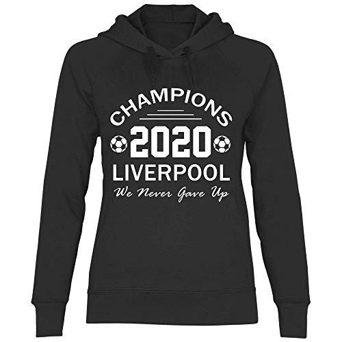 wowshirt Sudadera con Capucha Jürgen Klopp Liverpool Champions 2020 para Mujer, Tamaño:L, Color:Black