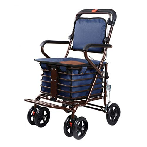 Shopping Trolley- Carrito de Compras de Cuatro Ruedas para Personas Mayores, un Andador con Asientos con Ruedas, Carro de Ruedas Plegable con Asiento 🔥