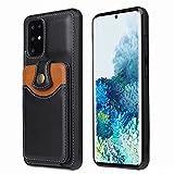 Funda para Samsung Galaxy A32 4G - Funda tipo cartera para Samsung Galaxy A32 4G (piel sintética, cierre de silicona suave, con bolsillos para tarjetas), color negro