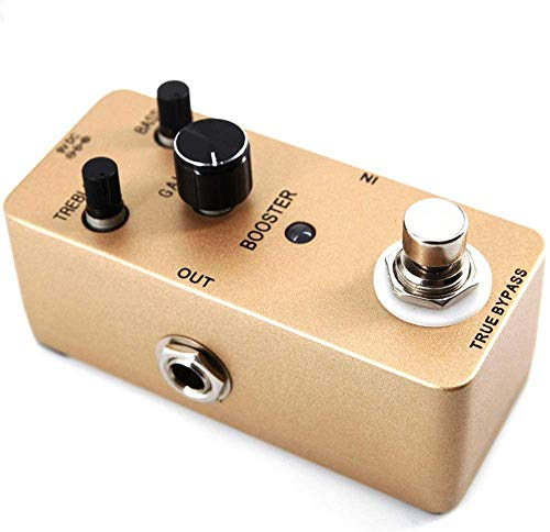 Guitar Effect Pedal Guitar Effect Processor Zinc Alloy Compact Booster Electric Guitar Effect Pedal Mini Guitar Effect Pedal With Clean Boost True Bypass Guitar Tuning Accessories ( Color : Gold , Siz