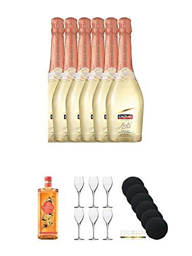 Cinzano Asti 6 x 0,75 Liter + Miamee Orange Goldwasser Likör 0,7 Liter + Sekt- und Champagnerglas Stölzle 6 Gläser - 215/29 + Schiefer Glasuntersetzer rund 6 x ca. 9,5 cm Durchmesser