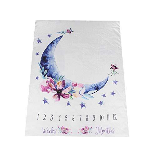 NROCF Moon Baby Mensuel Milestone Couverture, Couverture De Cadeau De Douche De Bébé Nouveau-Né en Flanelle Souple, Fond De Photographie Et Accessoires,B