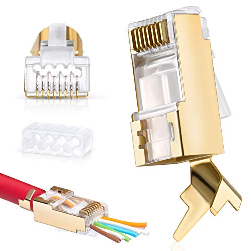 Everest Media Solutions RJ45 Cat7 & Cat6A Pass Through Connectors - 30 Pcs, 50UM Gold Plated Shielded FTP/STP External Ground for 23 AWG Network Cable