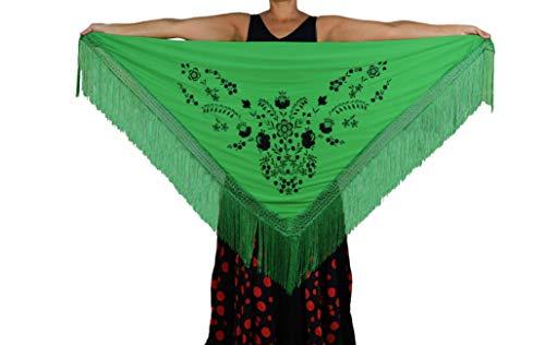 Anuka mantel, middelgroot, driehoekig, flamenco of sevillana, 175 x 75 cm, donkergroen