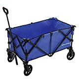 SONGMICS Folding wagon, Aluminium, Capacity 150 kg, Portable Garden Cart with 4 Wheels