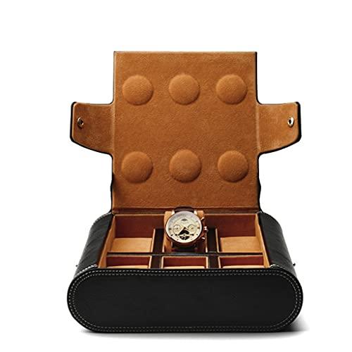 Yousiju Negro PU Reloj de pulsera de cuero Bolsa de exhibición Reloj portátil Almacenamiento Velvet Joyería interna Organizador (Color : A, Size : As shown)