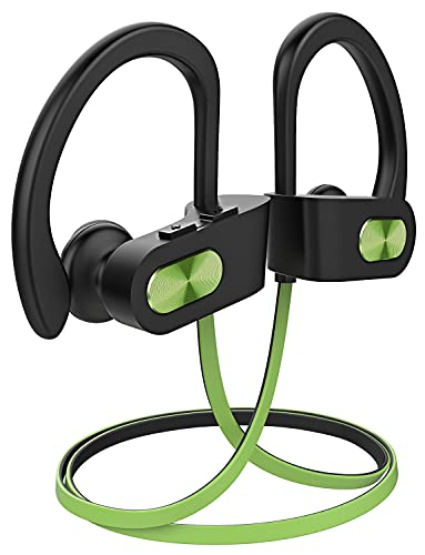 Bluetooth Headphones, Bluetooth 5.0 Wireless Earbuds Sports, 16Hr Playtime Bluetooth Earphones for Running w/Ergonomic Ear Hooks, Noise Cancelling Mic, IPX7 Waterproof Rating,Green