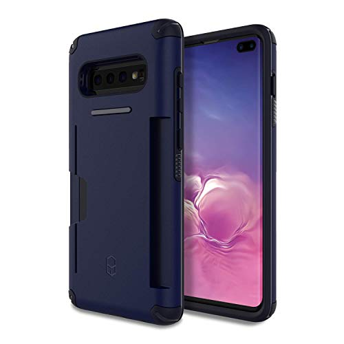 PATCHWORKS Galaxy S10 Plus Case [Level Wallet Series] Rugged Hybrid Shockproof Dual Layer TPU + PC Case [Military Grade Drop Test Certified] [Wireless Charging Compatible], Navy Blue