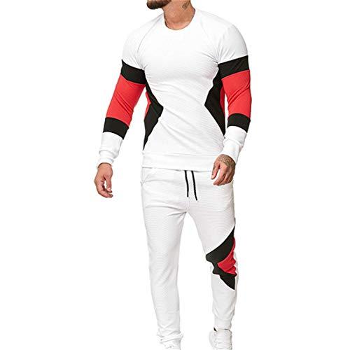 JELLYB 2-Teiliges Set Sportbekleidung Sport Freizeit Anzug Bequeme Lässiger Licht Rundhals Langarm Top Und Hose Zweiteiliger Sportlicher Herren Sportanzug E-White. M