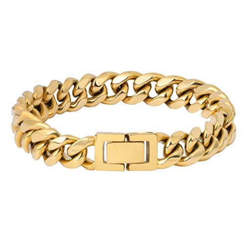 KRKC&CO 10mm Panzerkette Armband 18K Gold plattiert Miami Cuban Link Armband Cuban Chains kubanische Gliederarmband goldenes Cuban Armband Hip Hop Armband Hip Hop Schmuck für Herren Jungen Größe 19cm