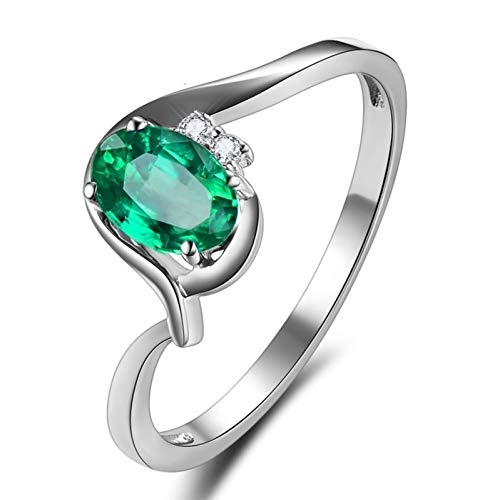 Ubestlove Claddagh Ring Emerald Gemstone Ring For Women Oval 4 Prong Real Gold Ring Womens 0.4Ct J 1/2