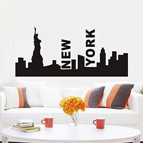 HNXDP Freiheitsstatue New York Skyline Silhouette Kunst Wandaufkleber Vinyl Removable Home Decor Wasserdichte Tapete Aufkleber Gelb 99 cm X 44 cmS