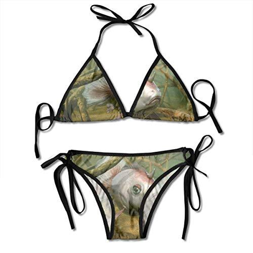 FUGVO Ocean Goldfish Horns Abenteuer Bikini Set Strandbadebekleidung Zweiteiliger Bikini Badeanzug für Frauen Mädchen Beachwear Schwarz