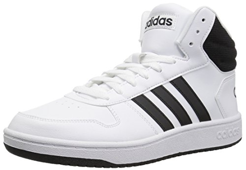 adidas Men's Hoops 2.0 Mid Basketball Shoe, white/black/black, 9.5 M US