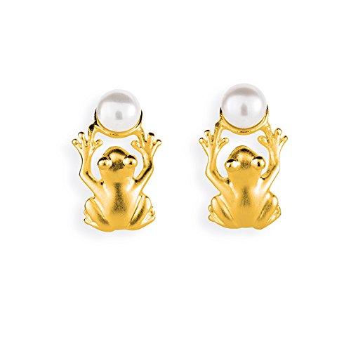 Drachenfels kleine Frosch Ohrstecker in Echtsilber goldplattiert mit Süßwasserperle | Kollektion Froschkönig | Frosch-Ohrringe für Damen | D FR 25/AGG