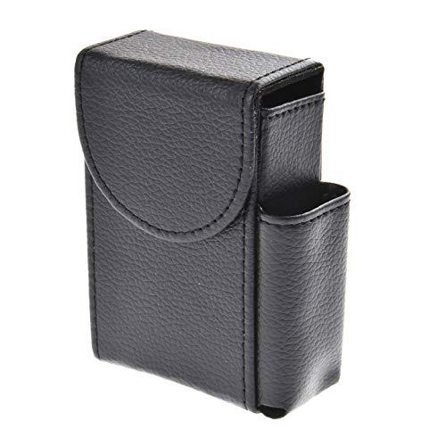 Quantum Abacus Etui per pacchetti di sigarette in cuoio PU, con compartimento extra per un mini accendino, colore: nero, Mod. 327-01