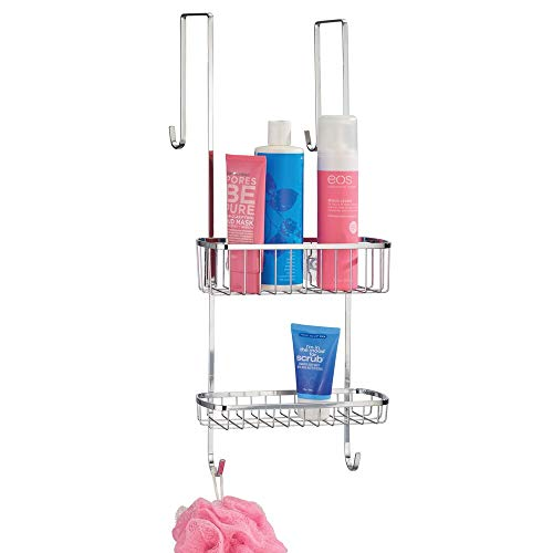 mDesign Duschablage zum Hängen über die Duschtür - praktisches Duschregal ohne Bohren - mit Saugnäpfen - Duschkorb zum Hängen aus Edelstahl für sämtliches Duschzubehör - silber