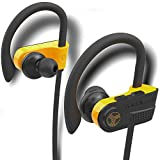 TREBLAB XR700 - Top 2019 Bluetooth Wireless Earbuds - Bluetooth 5.0 IPX7 Waterproof Sports Headphones, Adjustable Earhooks, Rugged Workout Earphones, Noise Cancelling Microphone in-Ear (Black-Orange)